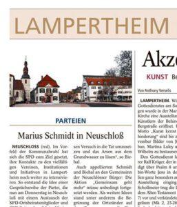 Ausriss aus der Lampertheimer Zeitung vom 19. Oktober 2015 – Pressemitteilung der SPD prominent auf der Aufschlagseite des Lokalteils.