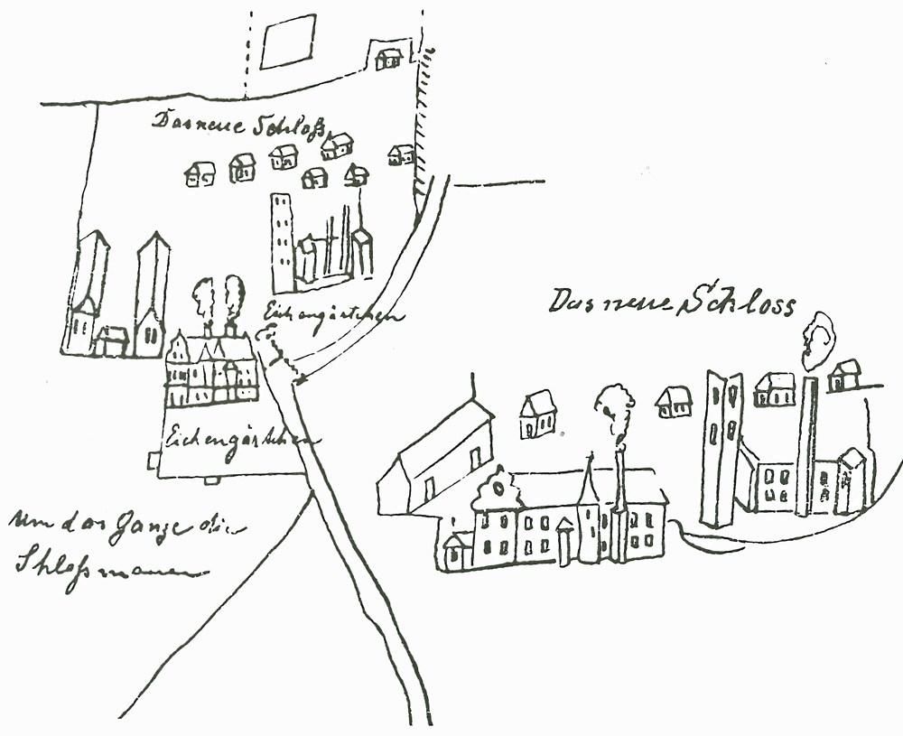 Schlossanlage - Skizze aus dem Jahr 1709.