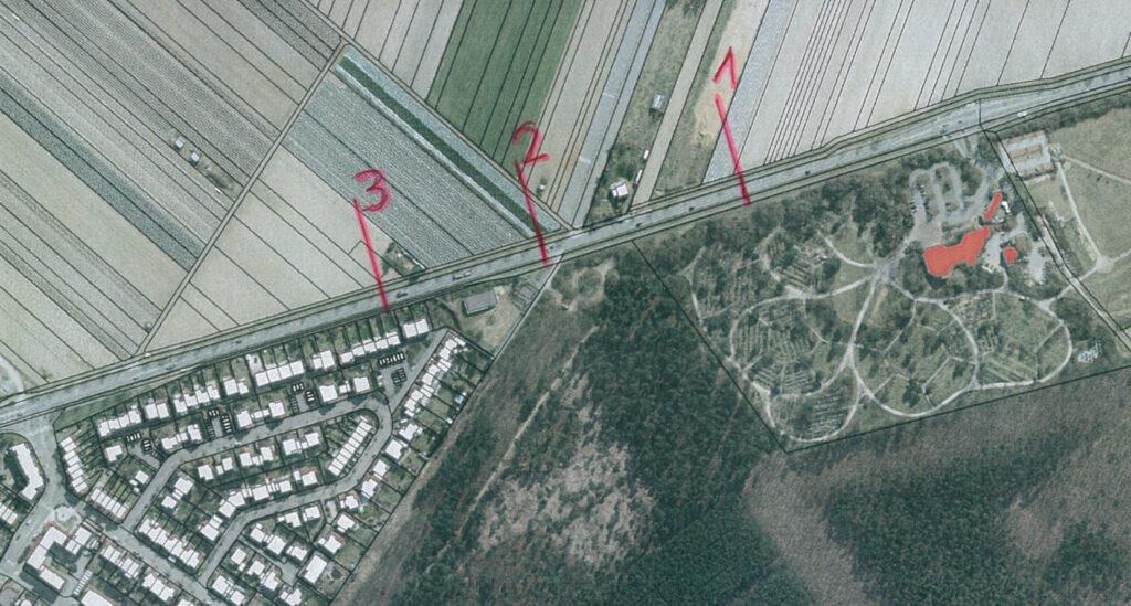 Luftansicht: Zwischen 1 und 2 soll überholen verboten sein, bei 3 das Ortsschild stehen. Tempo 60 wäre durchgehend.