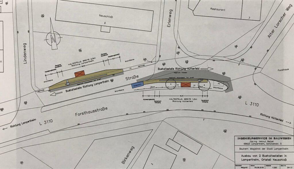"""Pläne für die Bushaltestelle """"Neuschloß Ort"""""""