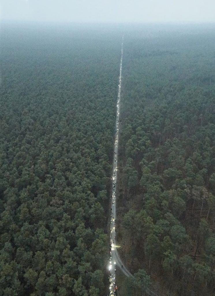 Der Lichterzug reicht 2,5 Kilometer weit in den Wald. (Foto: Bila)