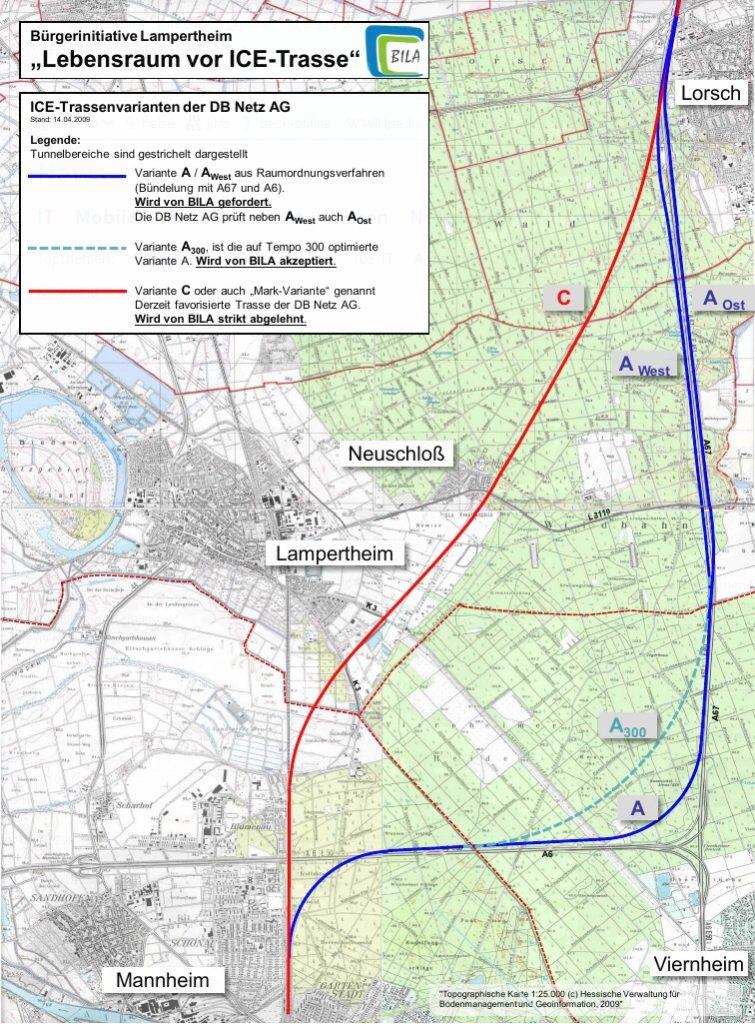 Bila-Darstellung der Zerschneidungstrasse (rot) und der Konsenstrasse (blau).