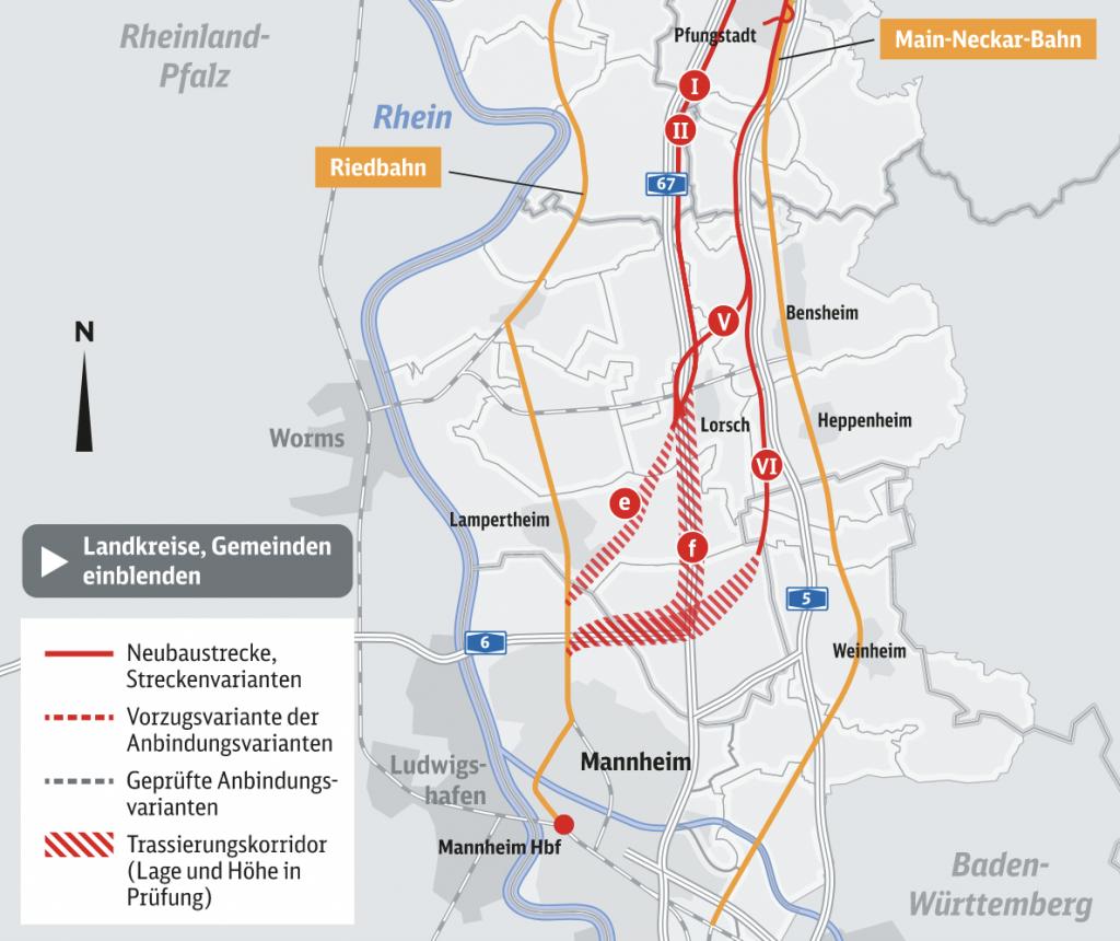 Die Varianten für Südhessen in einer Grafik der Deutschen Bahn.