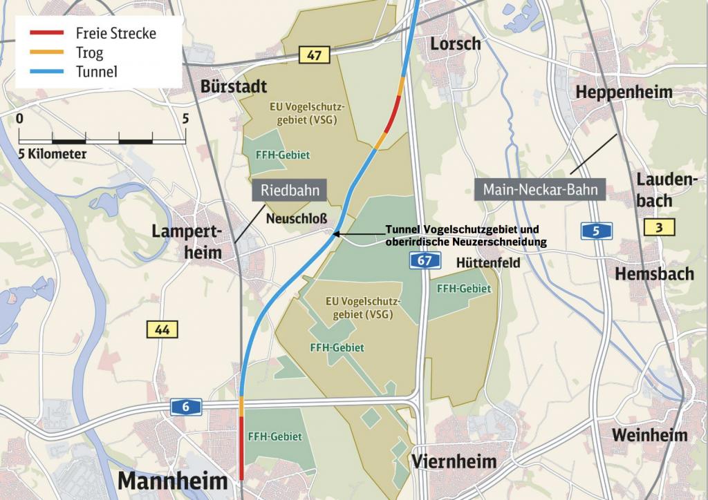 Der Tunnel beginnt mit dem Vogelschutzgebiet im Lampertheimer Wald und führt bis nach Mannheim.