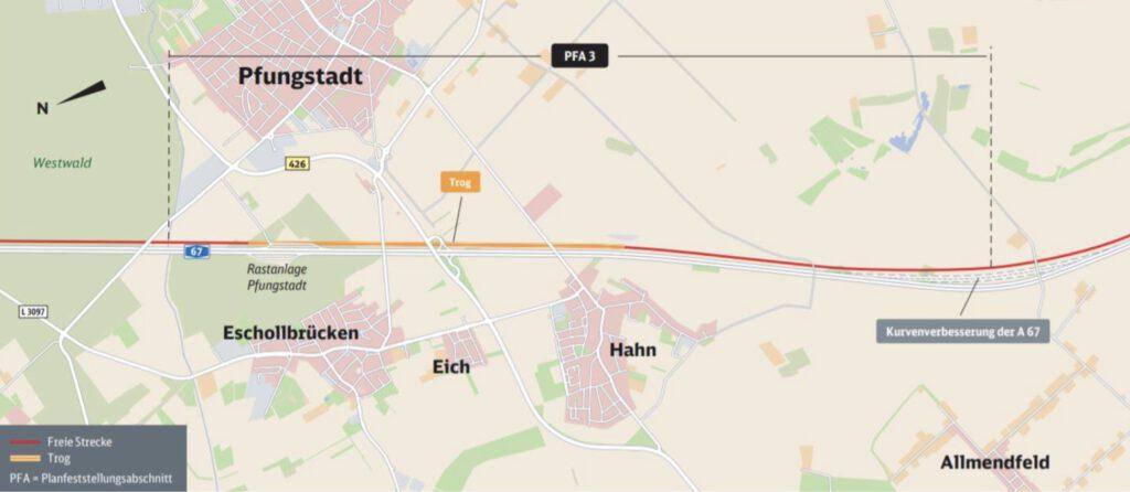 Neubaustrecke Frankfurt-Mannheim, Abschnitt 3: Pfungstadt bis Gernsheim