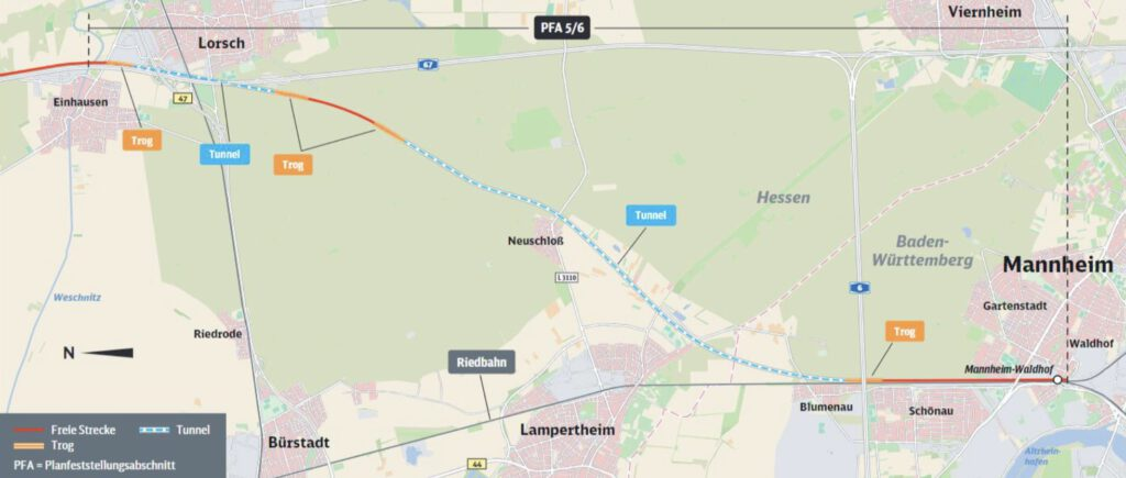 Neubaustrecke Frankfurt-Mannheim, Abschnitt 5/6: Einhausen/Lorsch bis Mannheim-Waldhof
