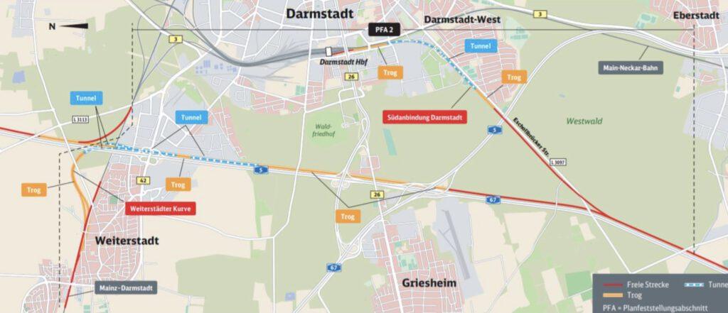 Neubaustrecke Frankfurt-Mannheim, Abschnitt 2: Darmstadt Nord bis Pfungstadt