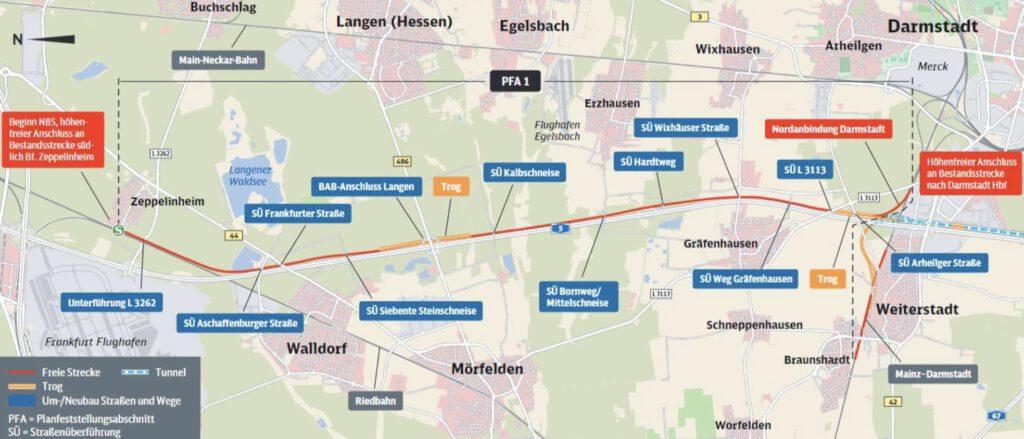 Neubaustrecke Frankfurt-Mannheim, Abschnitt 1: Zeppelinheim bis Darmstadt Nord