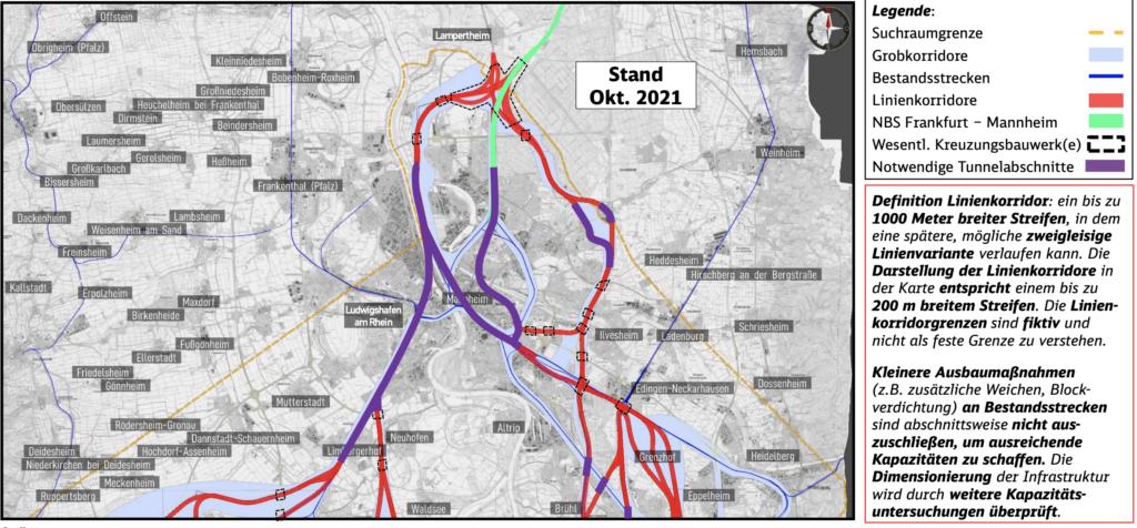 Planungen für die Neubaustrecke Mannheim-Karlsruhe bei Mannheim.