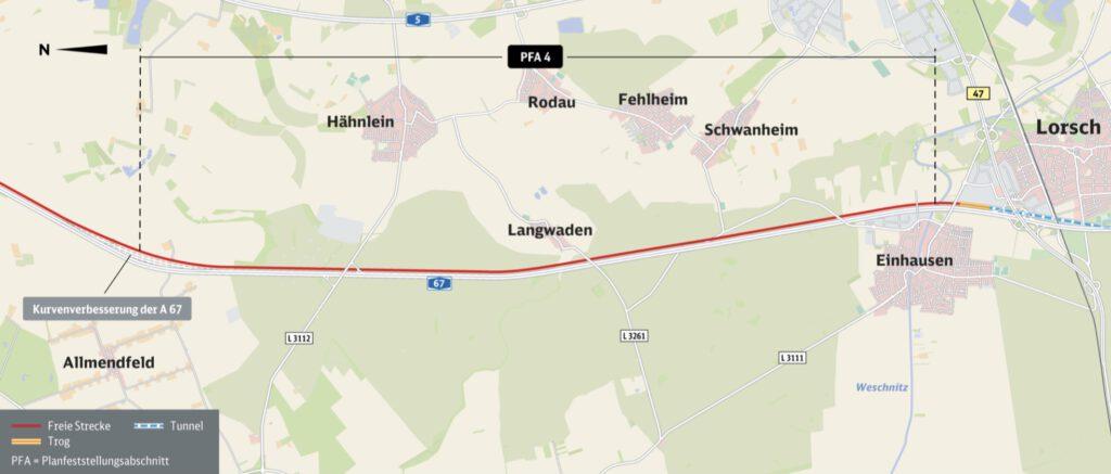 Neubaustrecke Frankfurt-Mannheim, Abschnitt 4: Gernsheim bis Einhausen/Lorsch