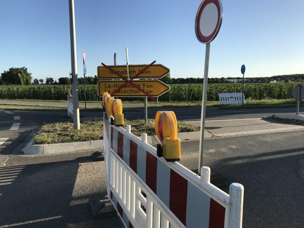 Sperrung der L3110 am Hundeplatzkreisel Lampertheim